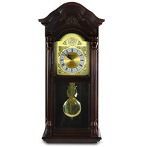 Bedford Clock Collection 25.5 Inch Antique Mahogany Cherry Oak Chiming W... - $133.41
