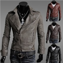 [Asia Size] Men's Fashion Genuine Leather Motorcycle Jacket England Style Plus S - $63.24