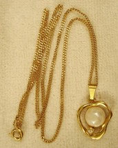 "Avon Necklace Faux BAROQUE PEARL PENDANT on 18.5"" Gold Tone Chain VTG 19... - $19.79"
