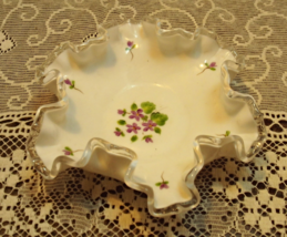 Vintage Fenton Violets in the Snow Silver Crest Candy Dish Decorative Bowl - $12.50