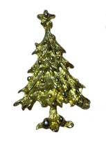 Vintage Christmas Tree Brooch Pin Holiday Gold Toned - $16.82