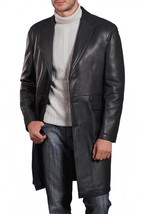 Men Leather Coat Winter Long Leather Coat Genuine Real Leather Trench COAT-UK45 - $214.46
