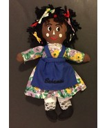 Bahamas Rag Doll Plush Toy Girl Black Hair Brown Skin Cultural Ethnic - $14.84