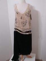MC AVOY Dress RARE 1920's Black & Cream Rhinestone Beaded Sleeveless Fla... - $629.99
