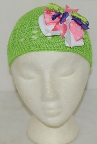 Unbranded Infant Toddler Lime Green Hat Stretch Removable Bow Multicolor