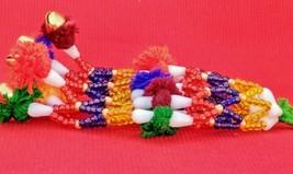 Banjara Tribal  Boho Handmade beaded Mini Bells Fitted Keychain/ handbag... - $24.37