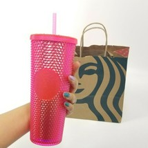 Starbucks Winter Holiday 2019 Neon Pink Studded Cold Cup Tumbler 24 Oz V... - $52.14