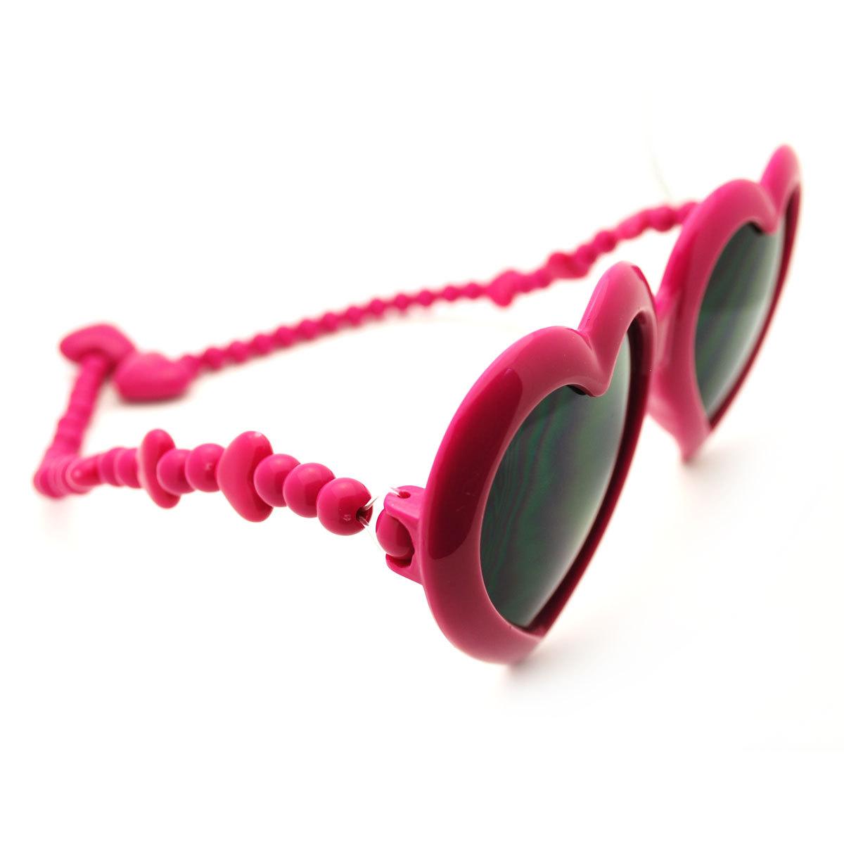 Heart Shape Plastic Party Shade Sunglasses w/ Unique Flexible Bead Arms