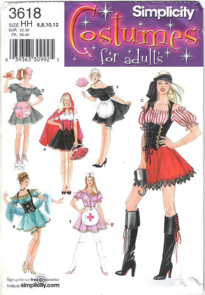 Primary image for Simplicity Costume Pattern 3618 Sexy Nurse Maid Pirate More Misses Sz 6-12 Uncut