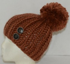 Simply Noelle Fall Winter Hat Large Pom Pom Two Large Buttons image 2