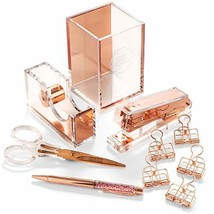 Stylish Office Desk Accessories and Supplies Kit For Women , Rose Gold -... - $97.22