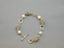 "Michael Dawkins 14k & Sterling FW Pearl & Granulation Bead Bracelet 7.5"" - $174.99"