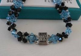 Swarovski Blue Crystal Bead Bracelet Earrings Dangle Drop NIB Shine - $12.19