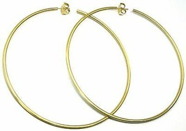 Silver Earrings 925 Circles Large Diameter 11 cm Thickness 2 mm Foiled Gold image 2