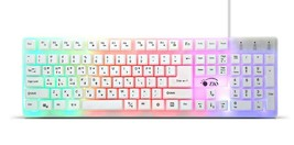 Zio Rainbow Korean English Keyboard USB Wired Membrane with Cover Skin Protector