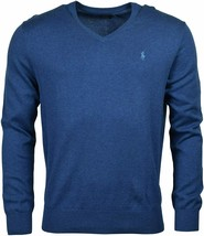 Polo Ralph Lauren Mens Blue Heather Pima Cotton V-Neck Sweater, L Large ... - $74.24