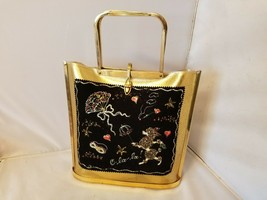 Tyrolean Handbags Purse Vintage French Shell Gold Glitter Poodle Retro M... - $425.42