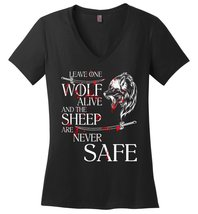 Leave One Wolf Alive And The Sheep Are Never Safe Ladies Vneck - $10.90+