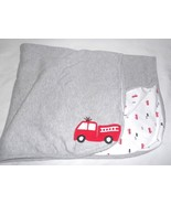 Carters Just One You Firetruck Baby Blanket Grey White Red Cotton - $24.73