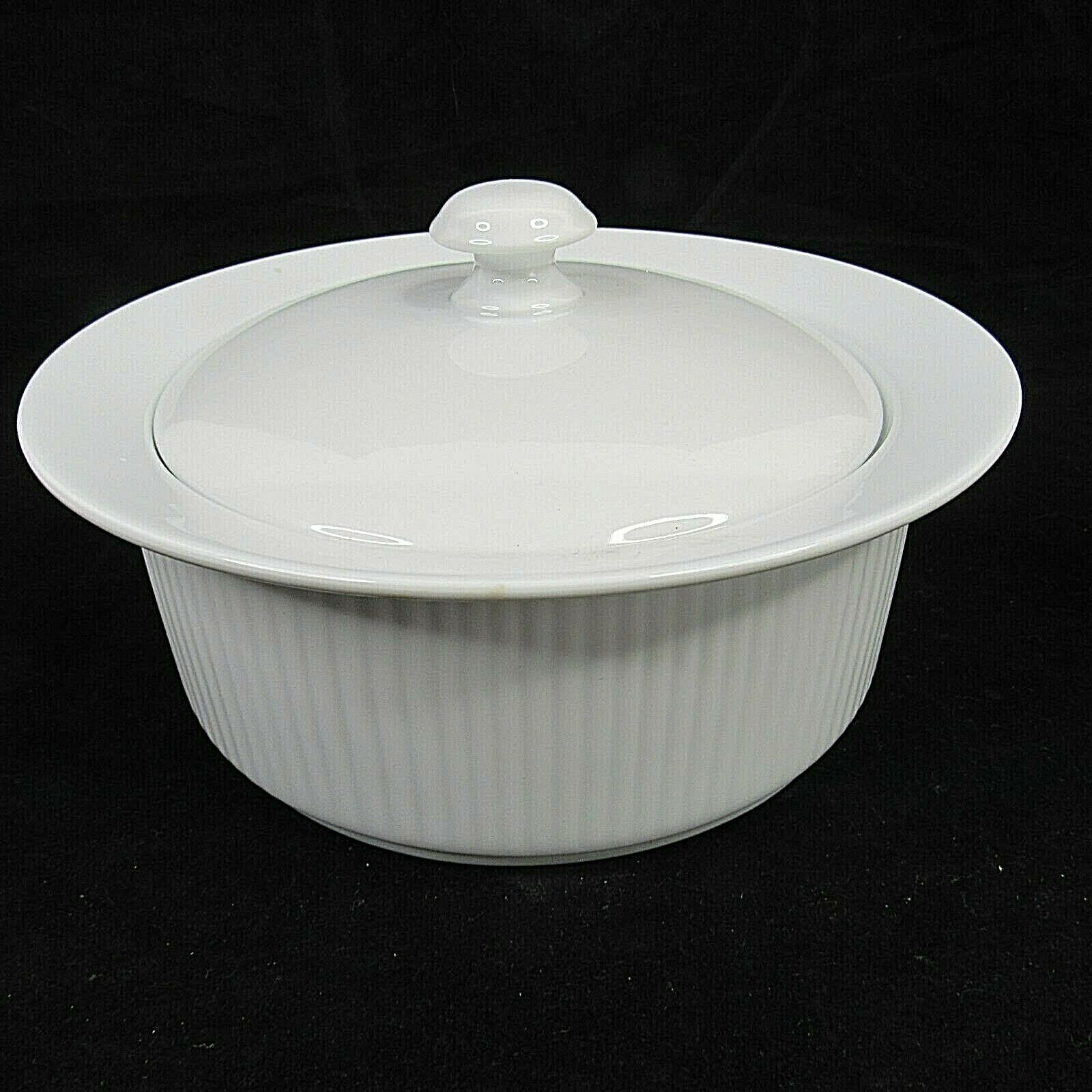 Dansk Bistro White 2 Quart Covered Casserole Dish with Vintage Candle Warmer - $39.59