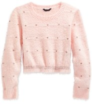 Tommy Hilfiger Girls' Dot-Pattern Crop Sweater,Melon Pink< Size S, MSRP $44.5 - $19.79