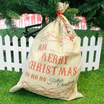 Large Burlap Santa Claus Sack Christmas Stocking Drawstring Gift Bag Sto... - $12.60