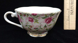 Tea Cup Lefton China White w/ Pink Rose Porcelain Gold Trim Hand Painted - $9.89