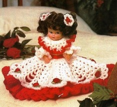 X779 Crochet PATTERN ONLY Little Miss Christmas Doll Dress Pattern - $7.50