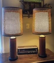 Mid Century DANISH MODERN Teak Lamps W/Double Shades PAIR Vintage - $224.50