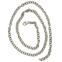 18K WHITE GOLD CHAIN 15.75 IN, ROUND CIRCLE ROLO LINK, DIAMETER 4 MM MADE ITALY image 2