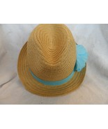 Women Lady Natural straw look Fedora  Hat with sky blue band and flower - $14.50