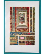 RENAISSANCE Manuscripts in Medici Library Italy - A. RACINET Color Litho... - $25.20