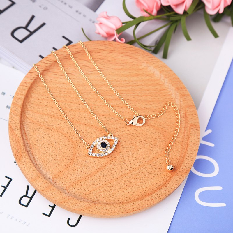 Fashion Gold Color Chain Crystal Eye Pendant Necklace For Girls Holiday Jewelry