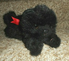 Ty Vintage 1997 Ty Licorice Black Cat Laying W/ Red Bow Stuffed Animal Plush Toy - $23.38