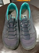 Clarks Collection Shoes Ladies Grey & Turquoise Size 7.5M Slip On Sneaker EUC - $19.99