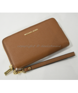 Michael Kors Mercer Large Leather Smartphone Wristlet /Wallet in Luggage... - $139.00