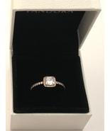 Genuine Pandora Rose Square Sparkle Halo CZ Ring Size 9 - $89.95