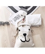 Smile Bear Pattern Canvas Baby Toys Storage Bags Laundry Bag Bedroom Art... - $22.35
