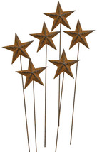 "6/pk, Rusty Star Picks, 14"" H Garden Flowers Fairy Rustic Holiday  - $17.00"