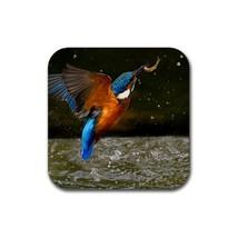 Kingfisher Bird Fishing (Square) Rubber Coaster - $2.99