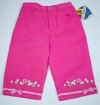 New Legends Nwt Girls Size 5 Pink Cropped Capri Pants Daisies Flowers & Bows New - $9.89