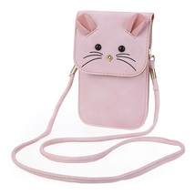 Mouse Shoulder Bag PU Leather Vertical Type Mini Phone Pocket for Lady - $13.29