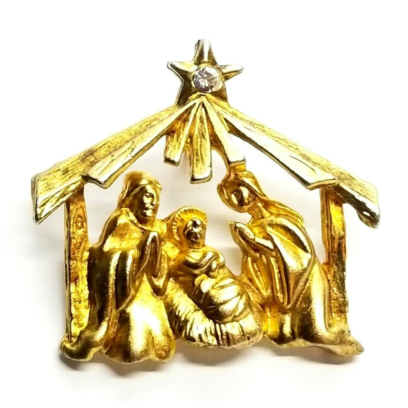Primary image for VTG Gold Tone Nativity Jesus Mary Joseph Rhinestone Star Christmas Brooch Pin