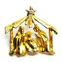 VTG Gold Tone Nativity Jesus Mary Joseph Rhinestone Star Christmas Brooc... - $11.03
