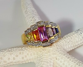 Vintage CZ Sterling Silver With Gold Plated Multi Color CZ Size 8 - $34.65