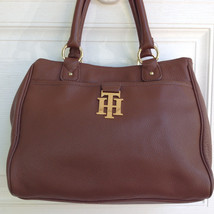 Tommy Hilfiger 100% Leather Hand Bag Satchel Cr... - $68.50