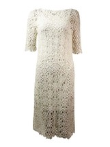 2810-2 Lauren Ralph Lauren Womens Lace Elbow Sleeves Casual Dress White PL, $174 - $64.79
