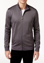 New Mens Alfani Full Zip Mock Neck Grey Jacquard Box Pattern Sweater Jacket S - $18.99