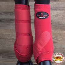 Hilason Infra Tech Horse Medicine Sports Boots Rear Hind Leg Red U-0RED - $55.95