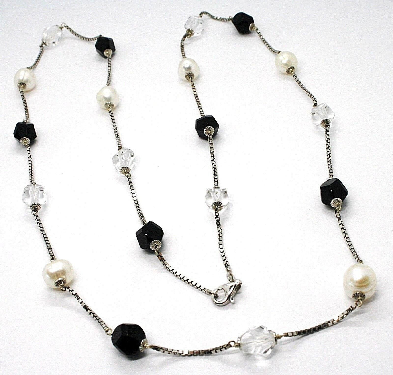 SILVER 925 NECKLACE, PEARLS, NUGGETS BLACK AND TRANSPARENT, LENGTH 85 CM